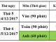 Lịch và danh sách học sinh Khối 9 kiểm tra Học kì I năm học 2017 - 2018
